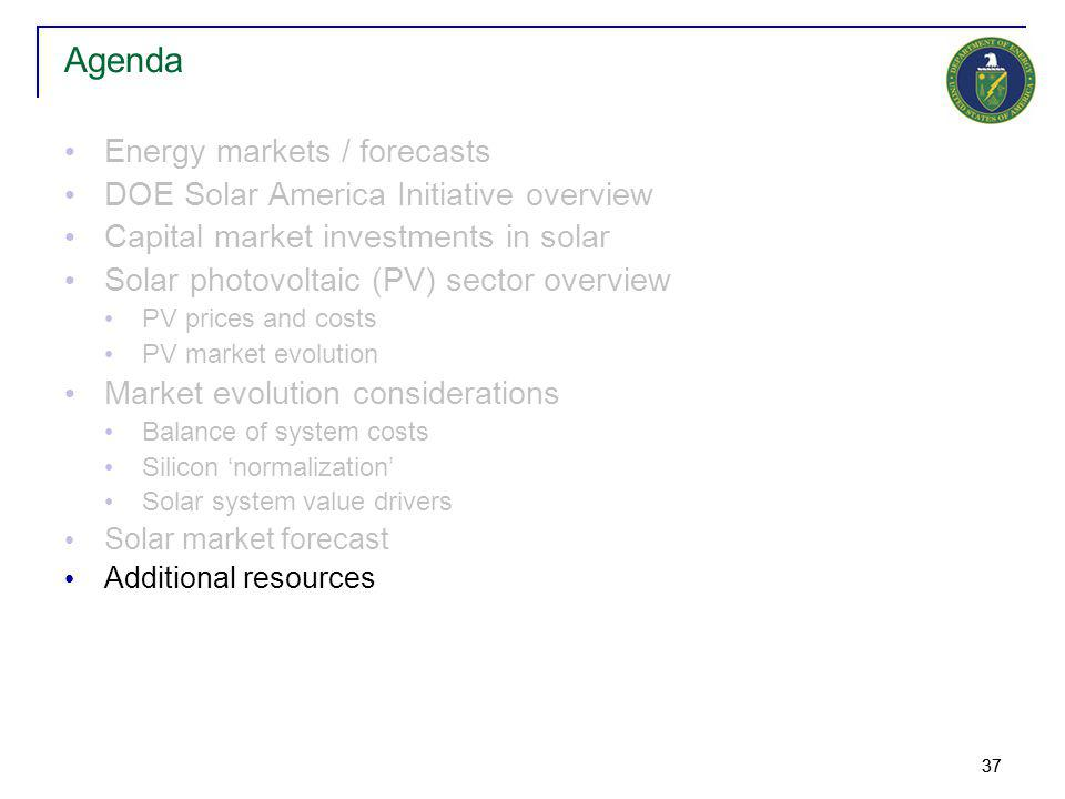 37 Energy markets / forecasts DOE Solar America Initiative overview Capital market investments in solar Solar photovoltaic (PV) sector overview PV pri