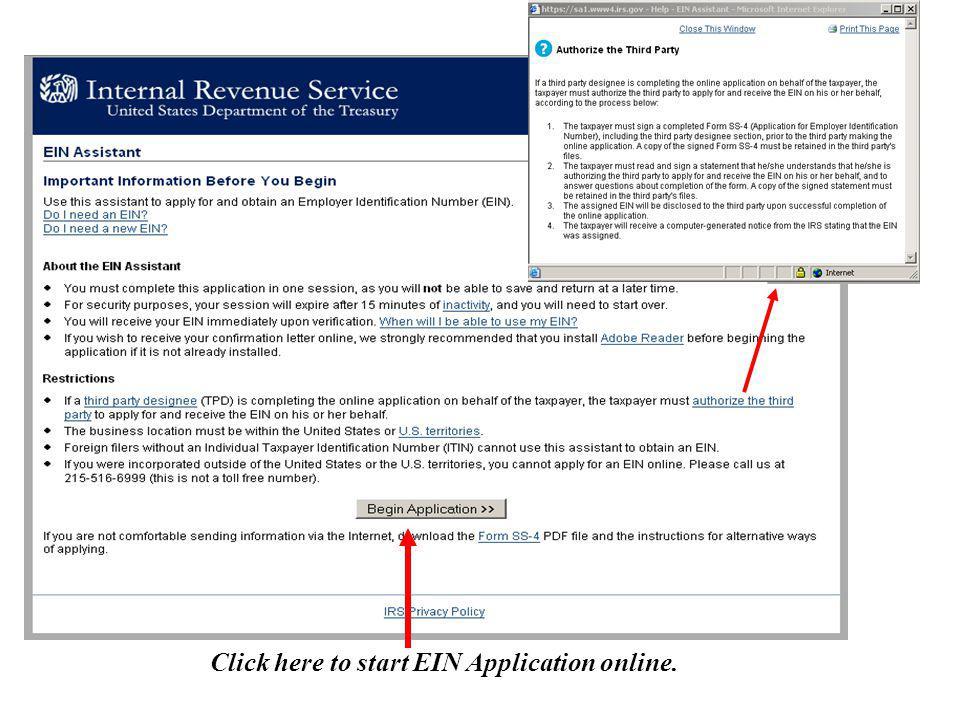Click here to start EIN Application online.