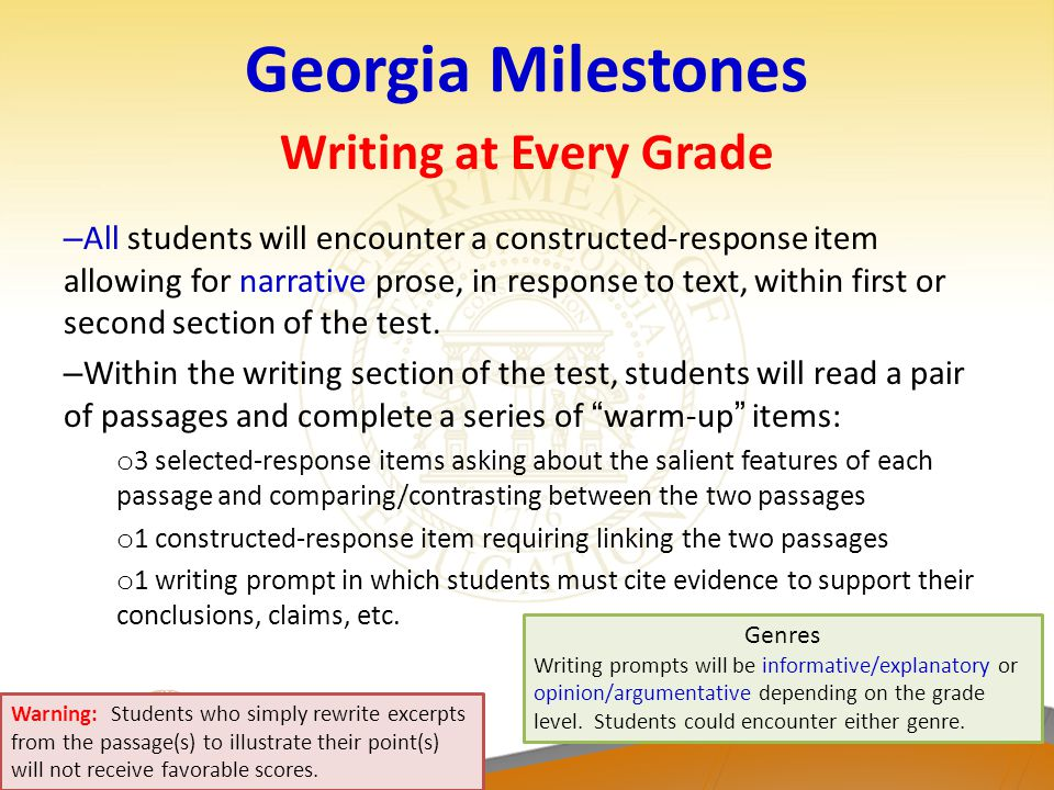 Georgia Milestones Writing at Every Grade – All students will encounter a constructed-response item allowing for narrative prose, in response to text,