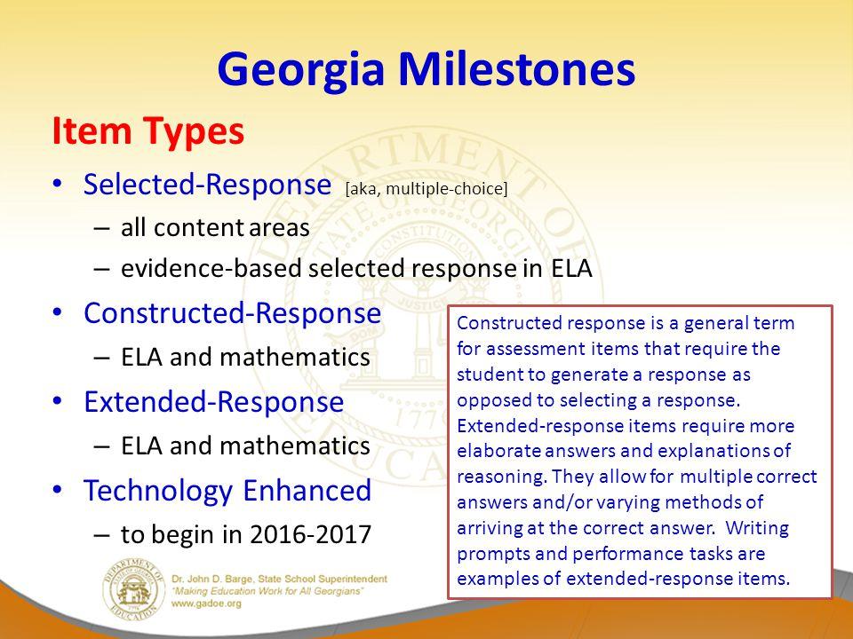 Examining Georgia Milestones Item Types Example – Grade 3 Mathematics – Fractions