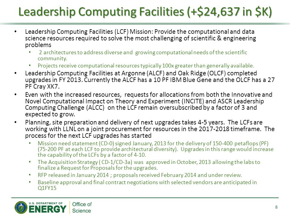 Leadership Computing Facilities (LCF) Mission: Provide the computational and data science resources required to solve the most challenging of scientific & engineering problems 2 architectures to address diverse and growing computational needs of the scientific community.