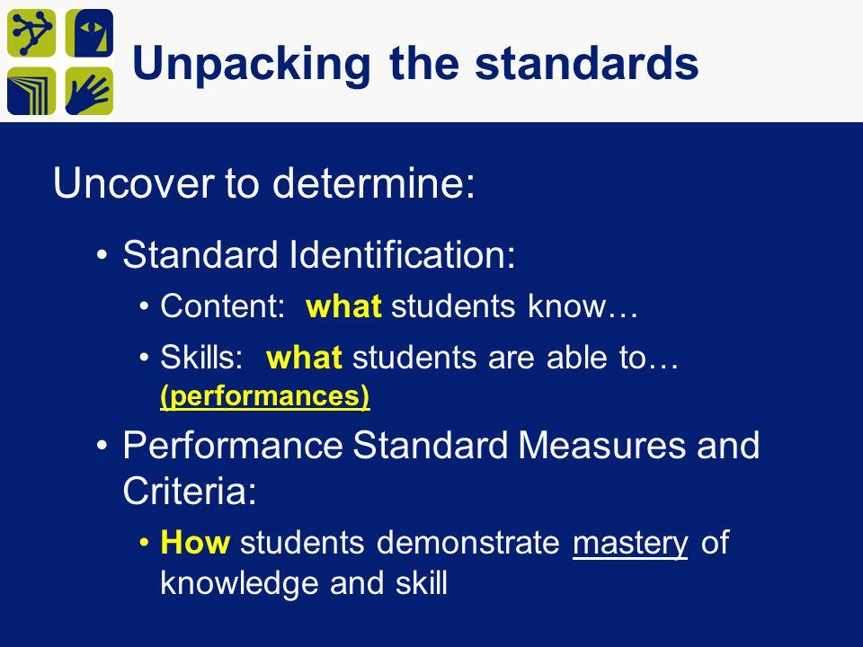 Unpacking the Standards Active Verbs matter.