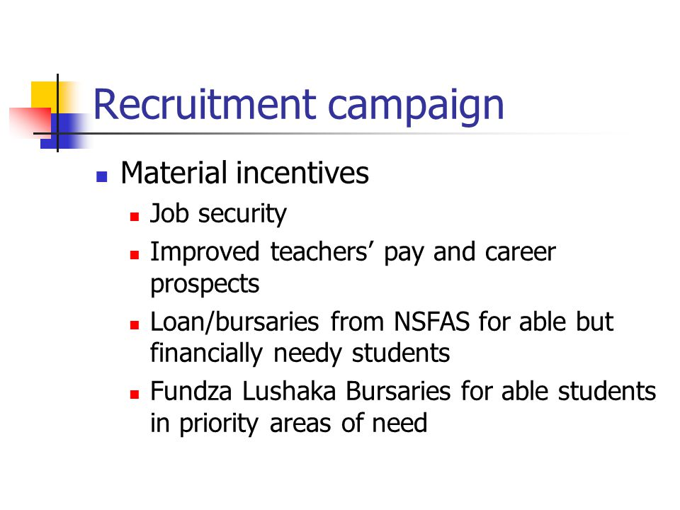 Fundza Lushaka Bursaries Fundza Lushaka Bursary Programme launched in December 2006 Successful advertising campaign R120 million this year = over 3 000 full- cost bursaries linked to service contracts Excellent response: funds will be fully utilised