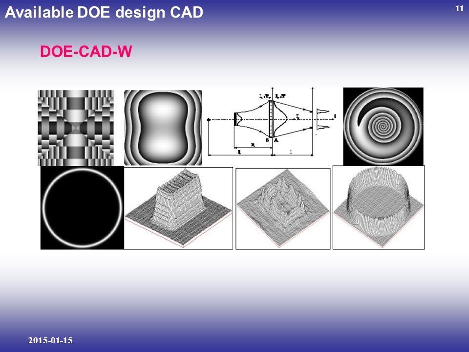 2015-01-15 11 Available DOE design CAD DOE-CAD-W