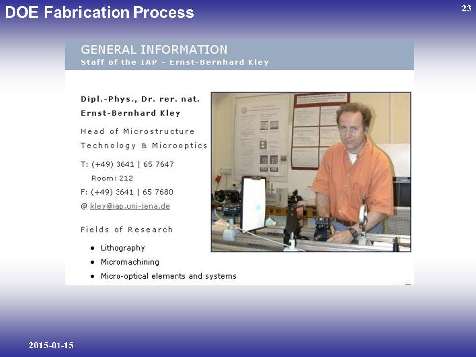 2015-01-15 23 DOE Fabrication Process