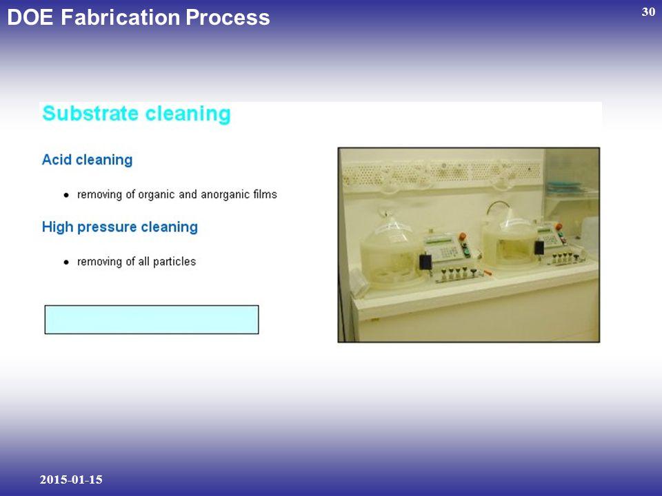 2015-01-15 30 DOE Fabrication Process