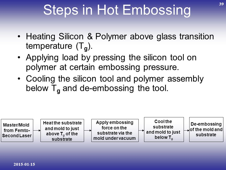 2015-01-15 39 Steps in Hot Embossing Heating Silicon & Polymer above glass transition temperature (T g ).