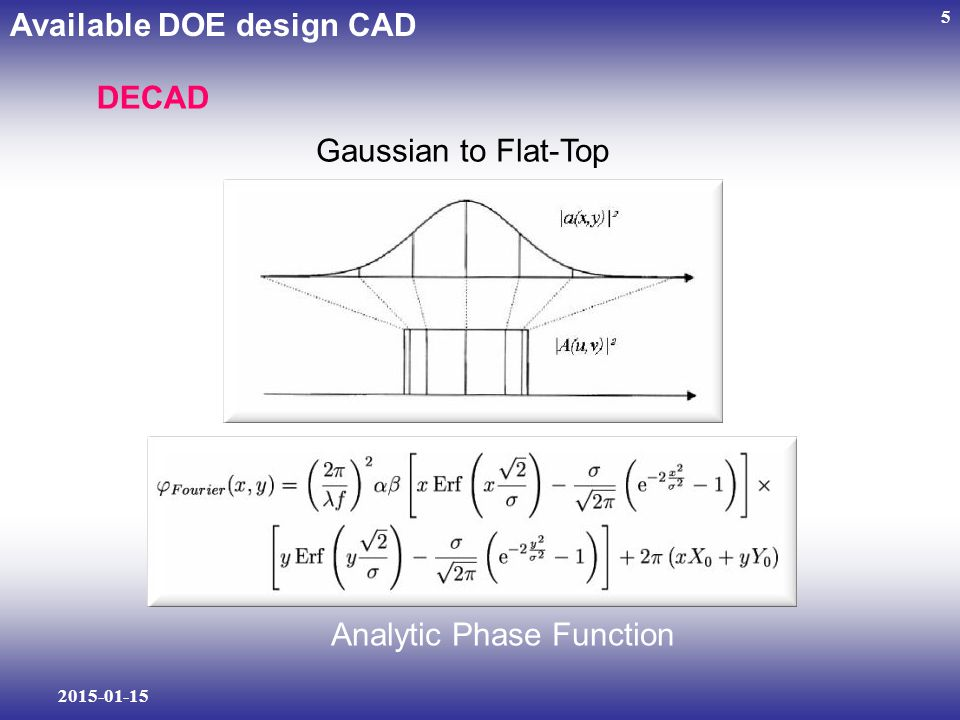 2015-01-15 5 Available DOE design CAD DECAD Gaussian to Flat-Top Analytic Phase Function