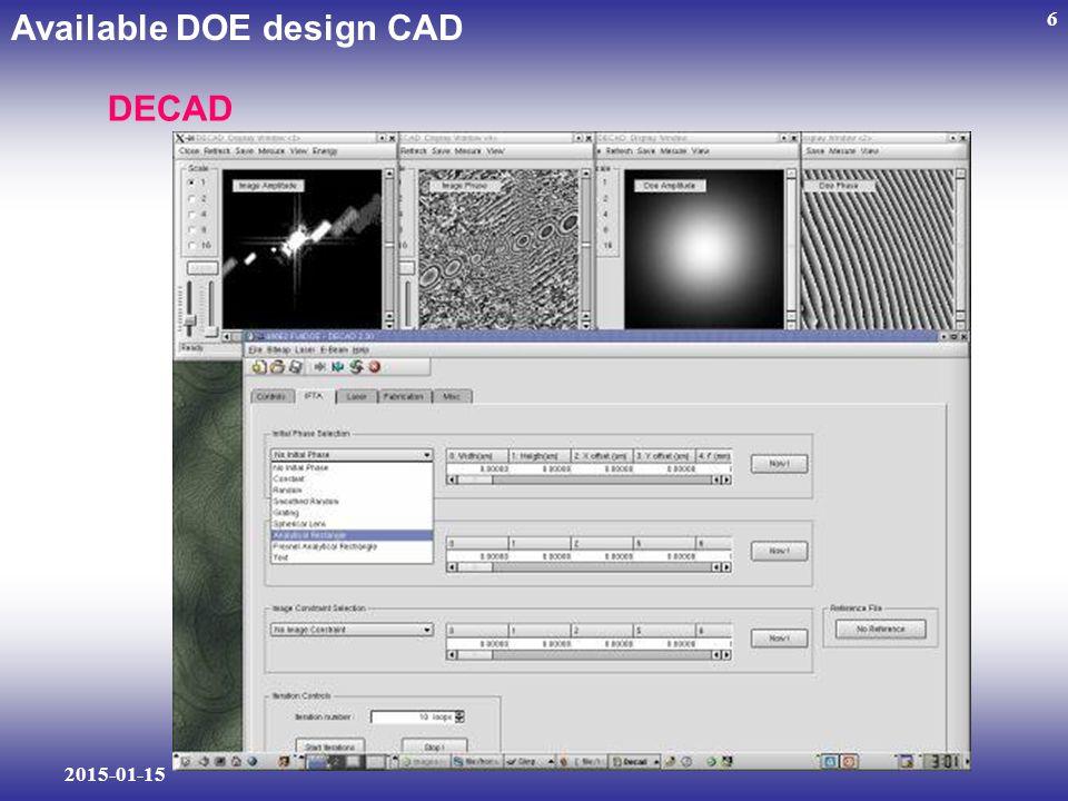 2015-01-15 6 Available DOE design CAD DECAD