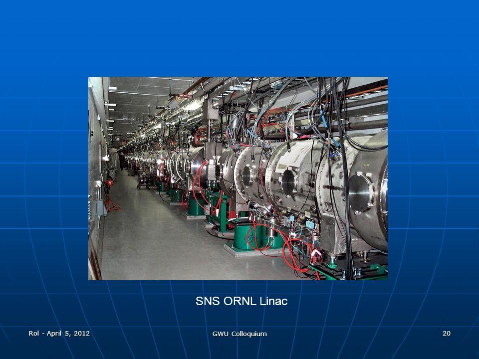 Rol - April 5, 2012 GWU Colloquium 20 SNS ORNL Linac