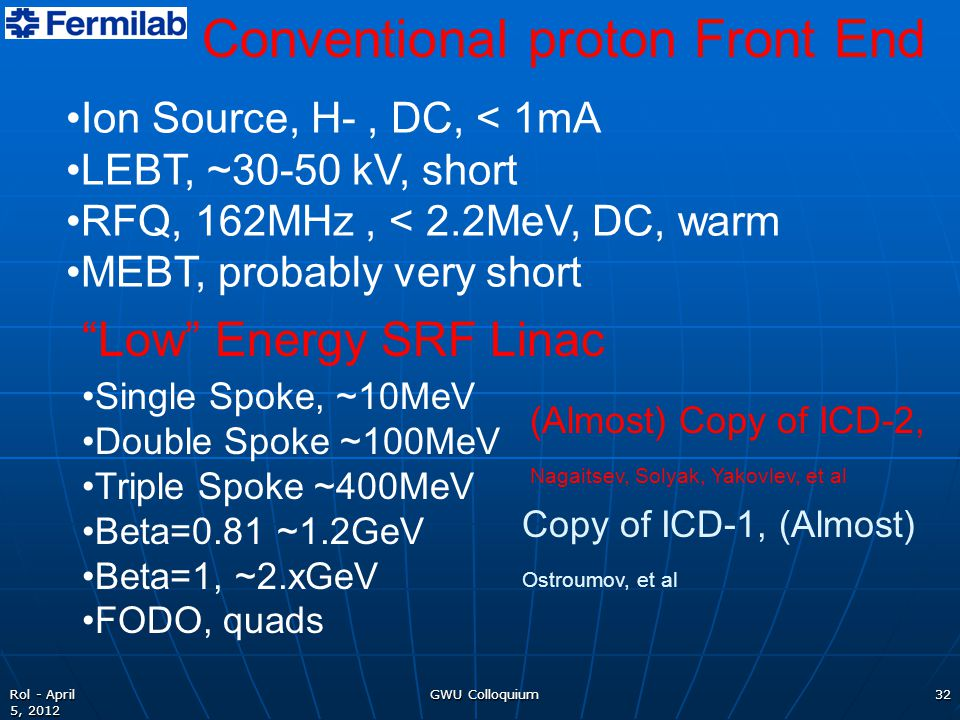 GWU Colloquium32Rol - April 5, 2012 Conventional proton Front End Ion Source, H-, DC, < 1mA LEBT, ~30-50 kV, short RFQ, 162MHz, < 2.2MeV, DC, warm MEB