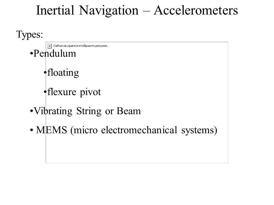 Inertial Navigation – Accelerometers Types: Pendulum floating flexure pivot Vibrating String or Beam MEMS (micro electromechanical systems)