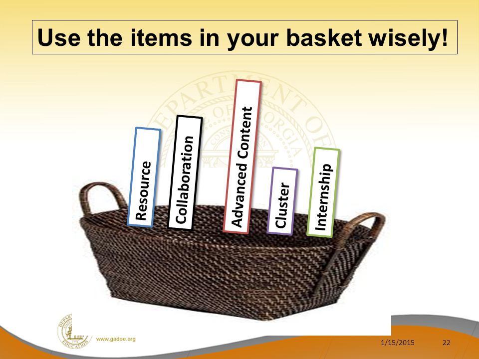 1/15/201522 Use the items in your basket wisely.