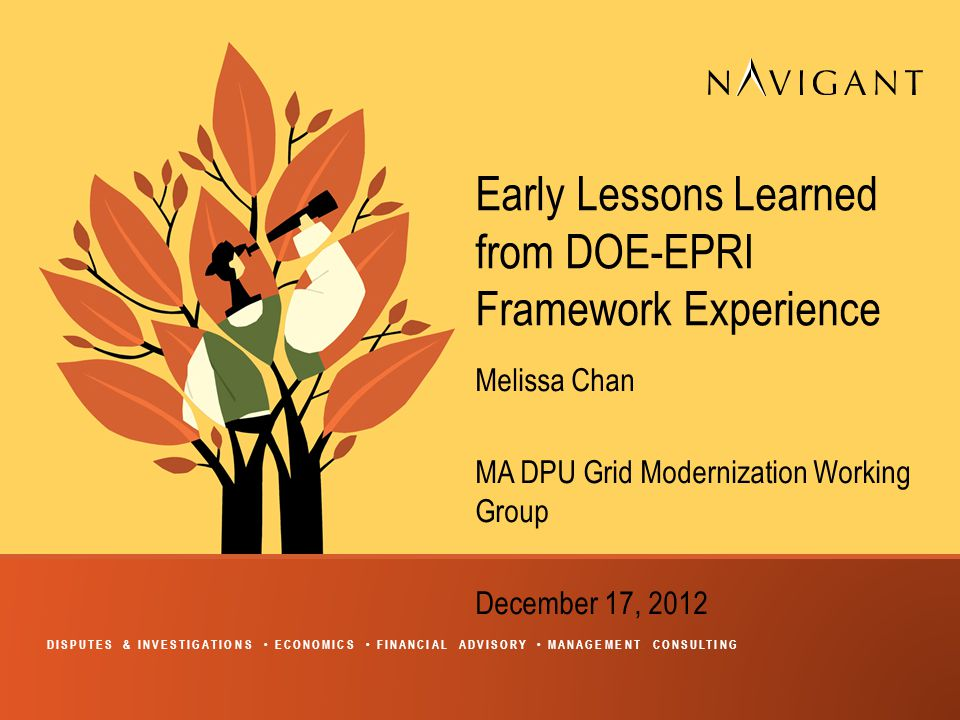DISPUTES & INVESTIGATIONS ECONOMICS FINANCIAL ADVISORY MANAGEMENT CONSULTING Early Lessons Learned from DOE-EPRI Framework Experience Melissa Chan MA DPU Grid Modernization Working Group December 17, 2012