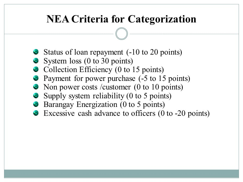 NEA Criteria for Categorization Status of loan repayment (-10 to 20 points) System loss (0 to 30 points) Collection Efficiency (0 to 15 points) Paymen
