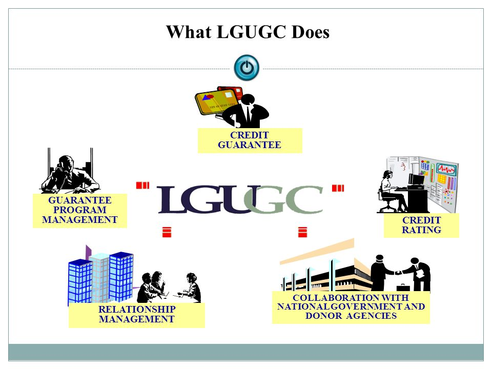 RELATIONSHIP MANAGEMENT CREDIT RATING CREDIT GUARANTEE GUARANTEE PROGRAM MANAGEMENT COLLABORATION WITH NATIONAL GOVERNMENT AND DONOR AGENCIES What LGU