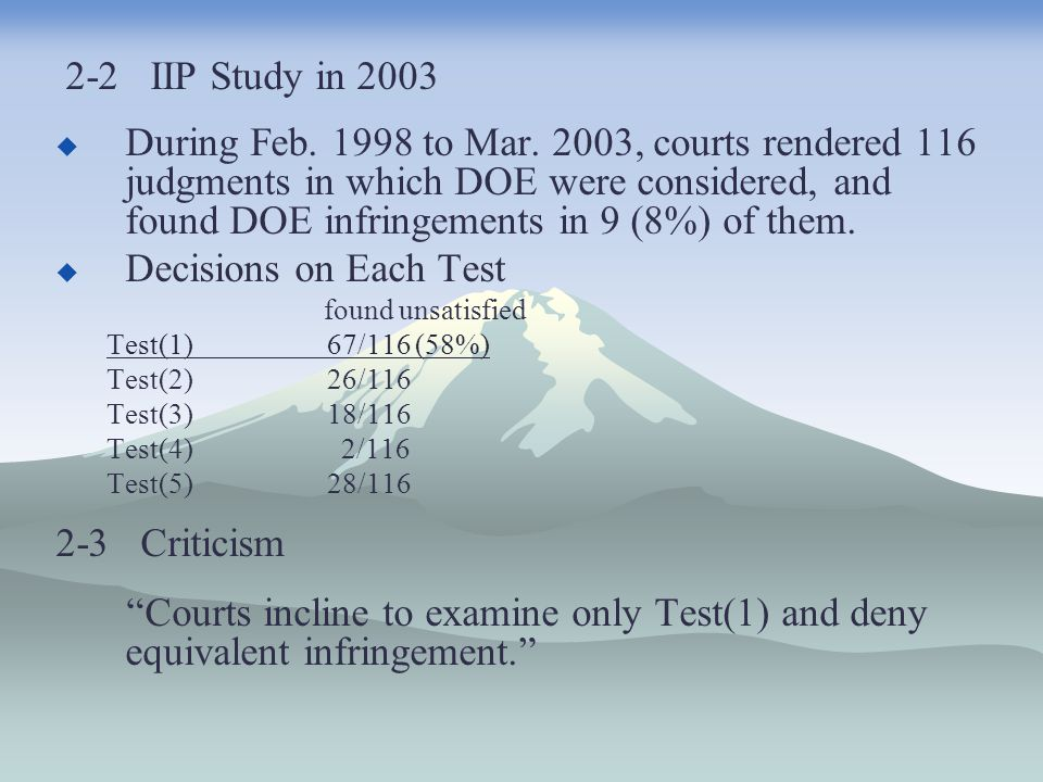 2-2 IIP Study in 2003  During Feb. 1998 to Mar. 2003, courts rendered 116 judgments in which DOE were considered, and found DOE infringements in 9 (8