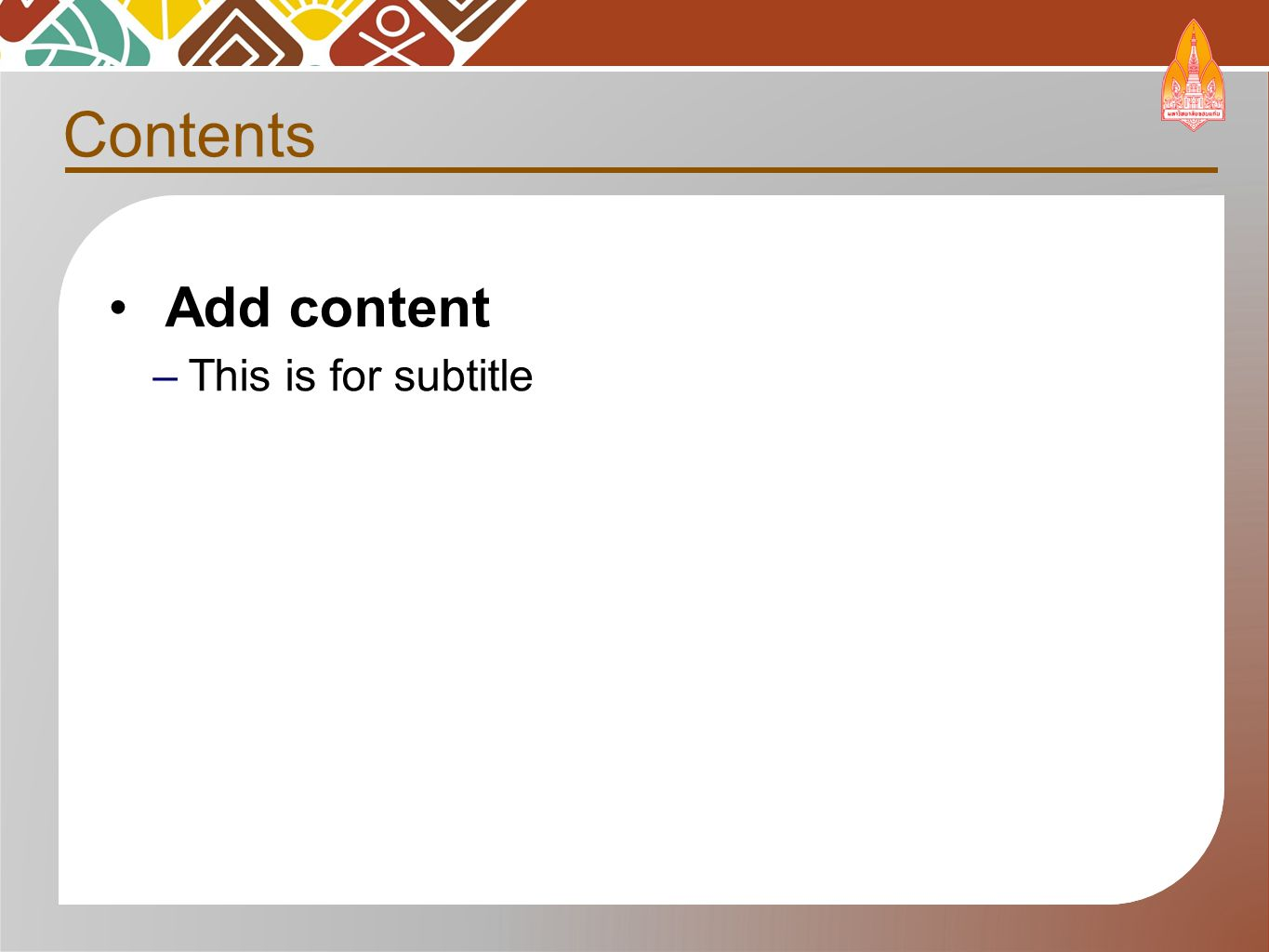 Add content –This is for subtitle