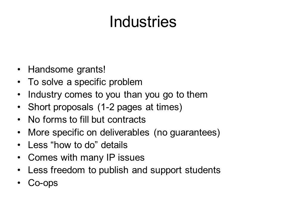 Industries Handsome grants.