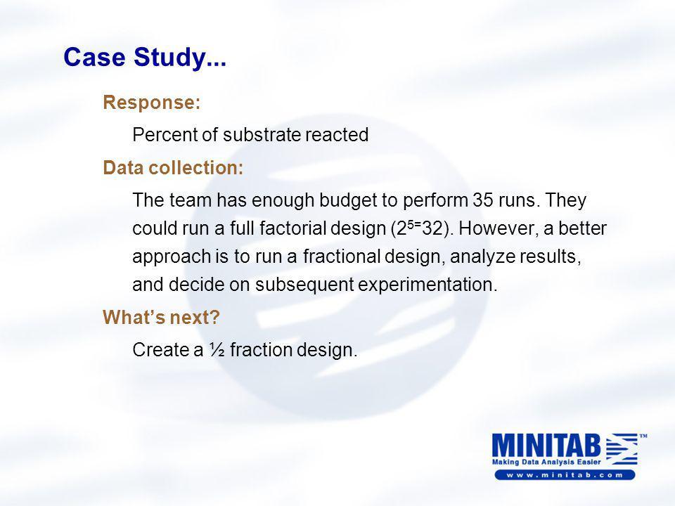 Case Study… Create the design with Minitab Go to Stat > DOE > Factorial > Create Factorial Design