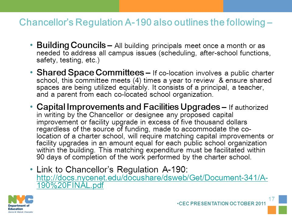 Chancellor's Regulation A-190 also outlines the following – Building Councils – All building principals meet once a month or as needed to address all