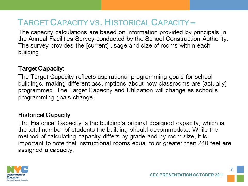 7 T ARGET C APACITY VS. H ISTORICAL C APACITY – The capacity calculations are based on information provided by principals in the Annual Facilities Sur