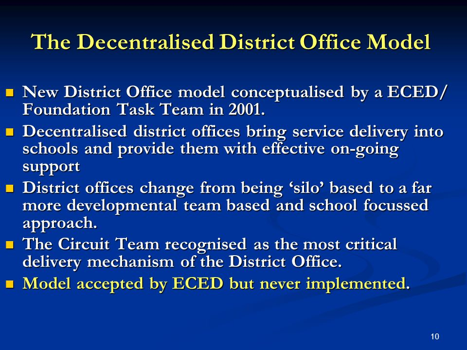 10 The Decentralised District Office Model New District Office model conceptualised by a ECED/ Foundation Task Team in 2001.