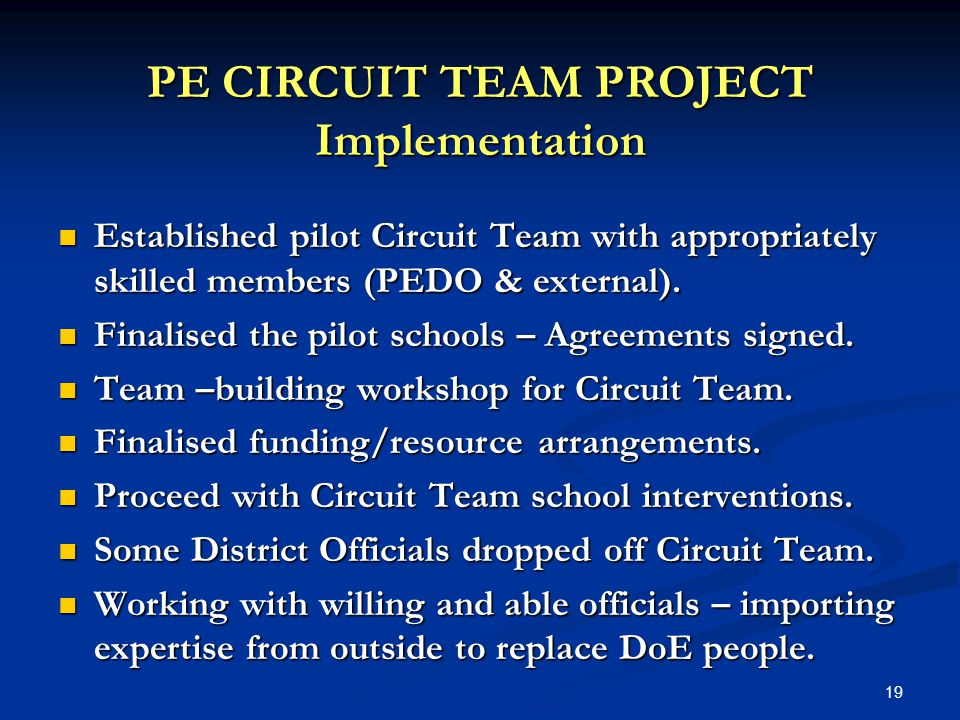 19 Established pilot Circuit Team with appropriately skilled members (PEDO & external).