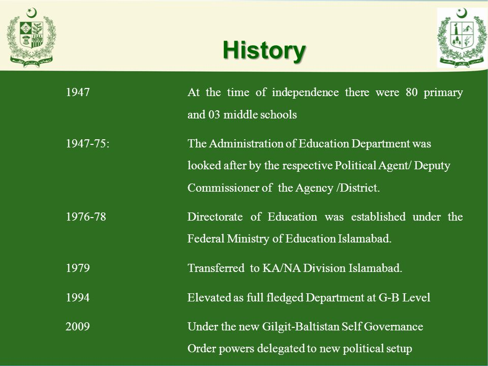History 1947At the time of independence there were 80 primary and 03 middle schools 1947-75:The Administration of Education Department was looked afte
