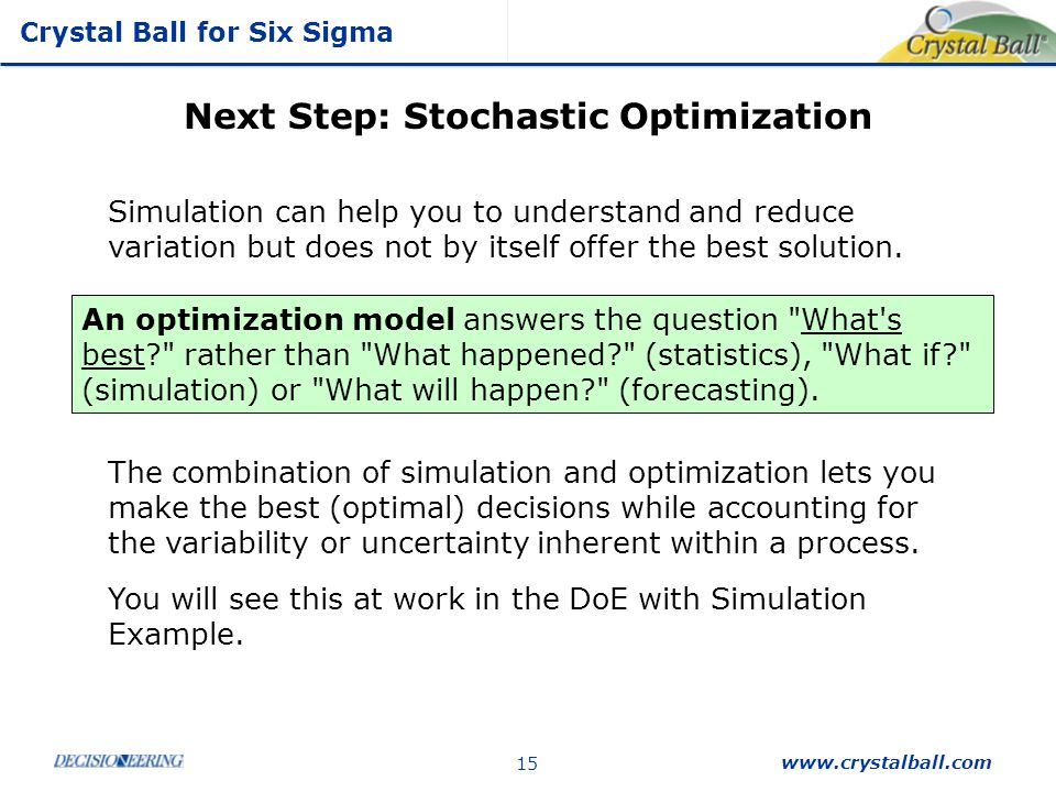 Crystal Ball for Six Sigma www.crystalball.com 15 Next Step: Stochastic Optimization Simulation can help you to understand and reduce variation but do