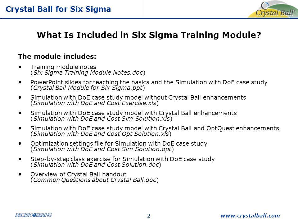 Summary Crystal Ball for Six Sigma