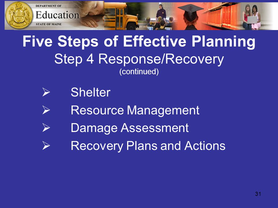 31 Five Steps of Effective Planning Step 4 Response/Recovery (continued)  Shelter  Resource Management  Damage Assessment  Recovery Plans and Actions