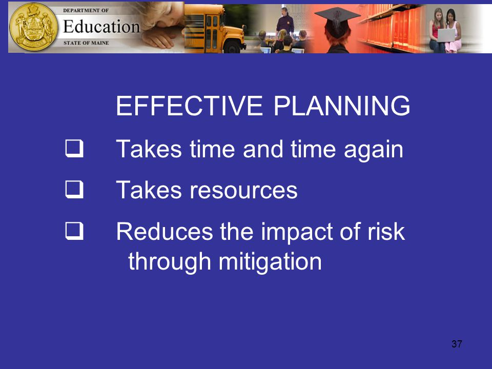 37 EFFECTIVE PLANNING  Takes time and time again  Takes resources  Reduces the impact of risk through mitigation