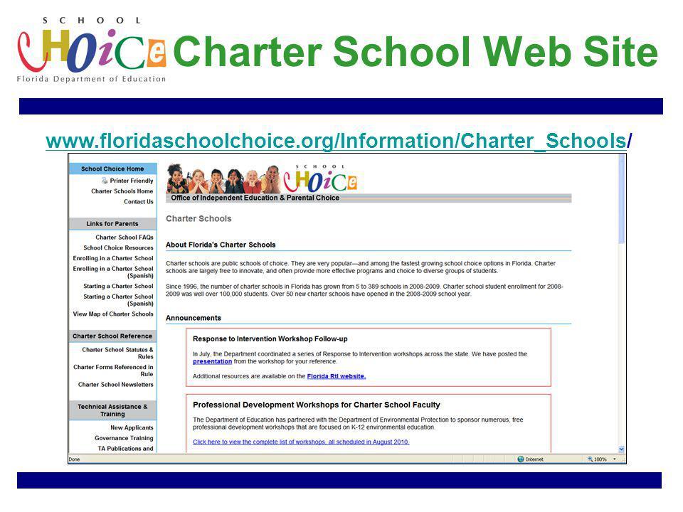 Charter School Web Site www.floridaschoolchoice.org/Information/Charter_Schoolswww.floridaschoolchoice.org/Information/Charter_Schools/