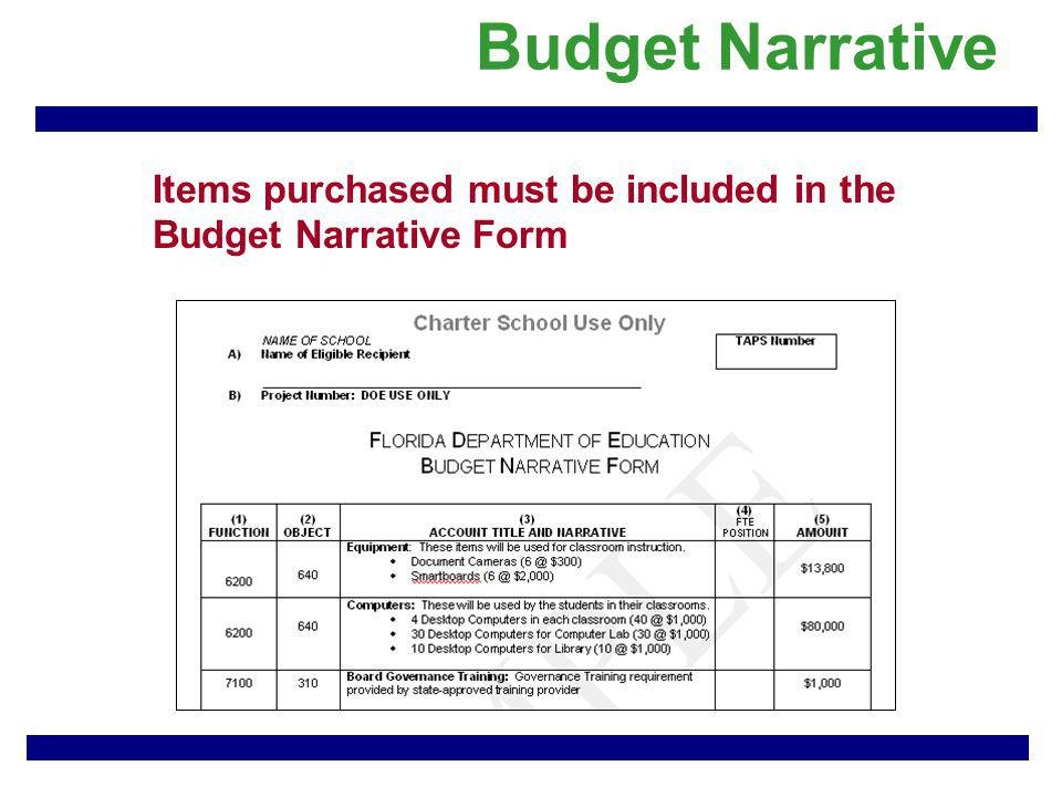 Budget Narrative Items purchased must be included in the Budget Narrative Form