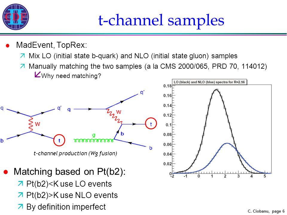 C. Ciobanu, page 6 t-channel samples l MadEvent, TopRex: äMix LO (initial state b-quark) and NLO (initial state gluon) samples äManually matching the