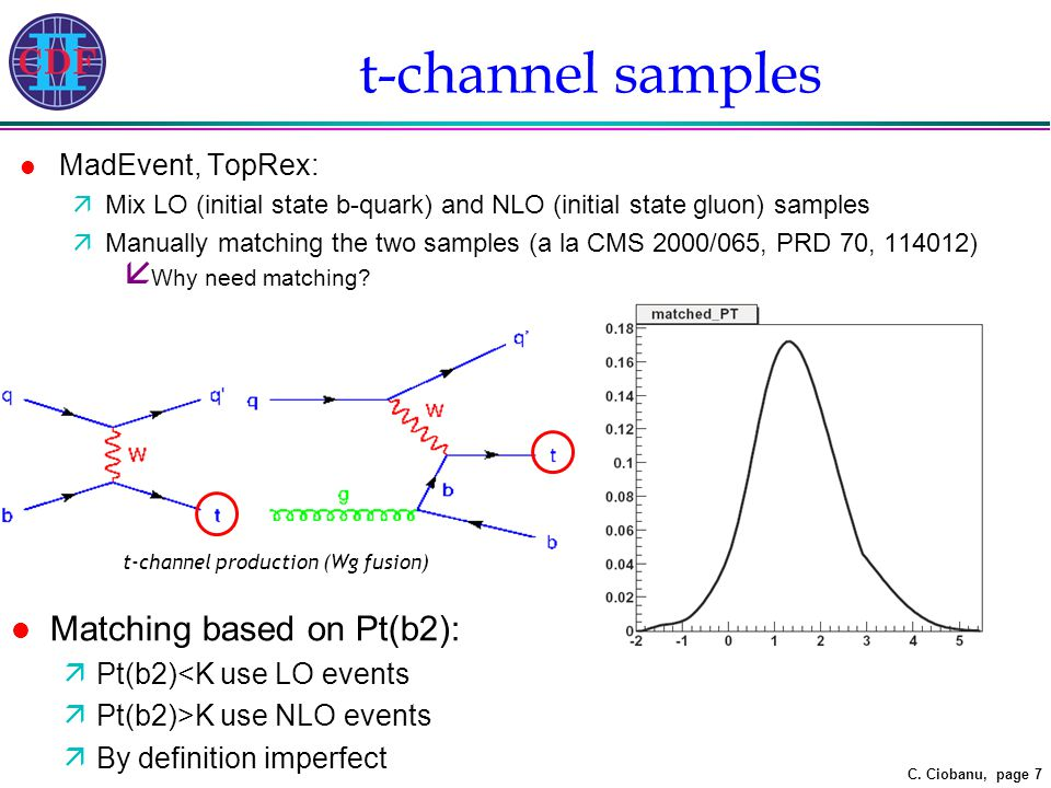 C. Ciobanu, page 7 t-channel samples l MadEvent, TopRex: äMix LO (initial state b-quark) and NLO (initial state gluon) samples äManually matching the