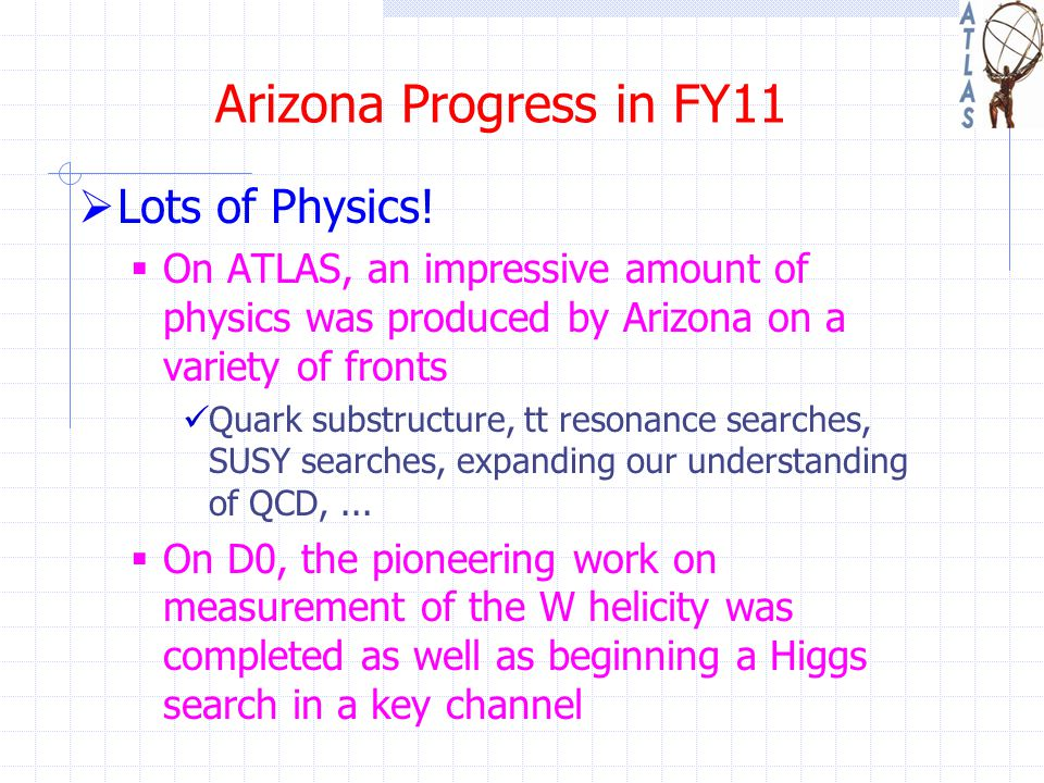 Arizona Progress in FY11  Lots of Physics!  On ATLAS, an impressive amount of physics was produced by Arizona on a variety of fronts Quark substruct