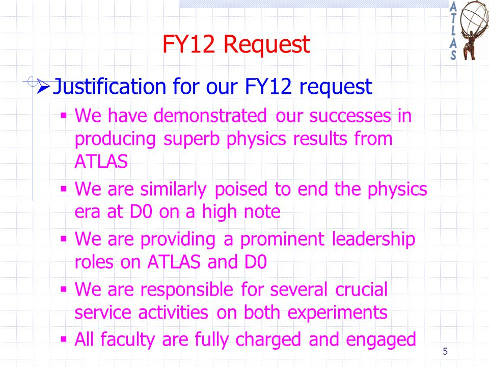 FY12 Request  Justification for our FY12 request  We have demonstrated our successes in producing superb physics results from ATLAS  We are similarly poised to end the physics era at D0 on a high note  We are providing a prominent leadership roles on ATLAS and D0  We are responsible for several crucial service activities on both experiments  All faculty are fully charged and engaged 5