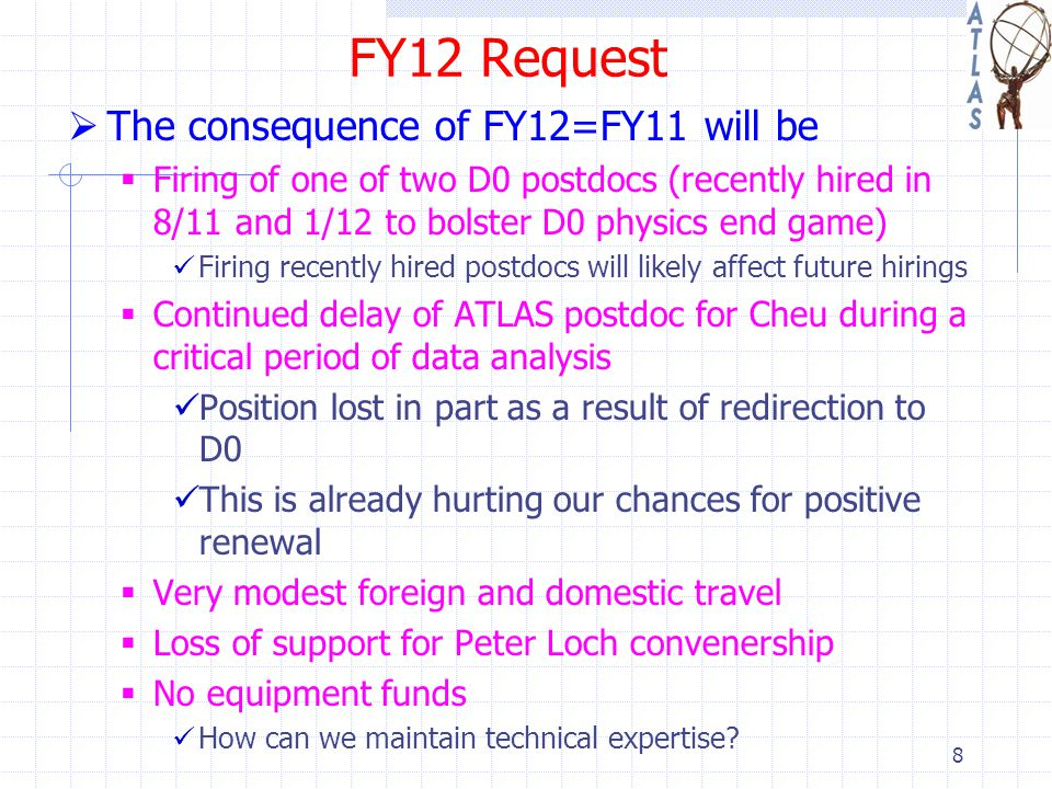 FY12 Request  The consequence of FY12=FY11 will be  Firing of one of two D0 postdocs (recently hired in 8/11 and 1/12 to bolster D0 physics end game) Firing recently hired postdocs will likely affect future hirings  Continued delay of ATLAS postdoc for Cheu during a critical period of data analysis Position lost in part as a result of redirection to D0 This is already hurting our chances for positive renewal  Very modest foreign and domestic travel  Loss of support for Peter Loch convenership  No equipment funds How can we maintain technical expertise.