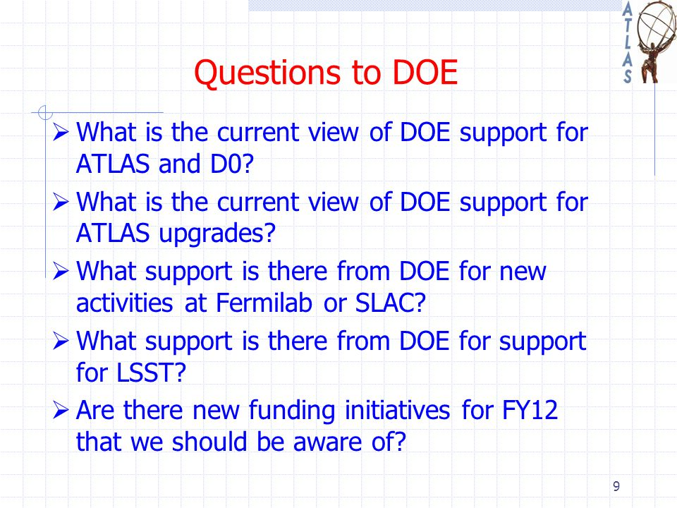 Questions to DOE  What is the current view of DOE support for ATLAS and D0.