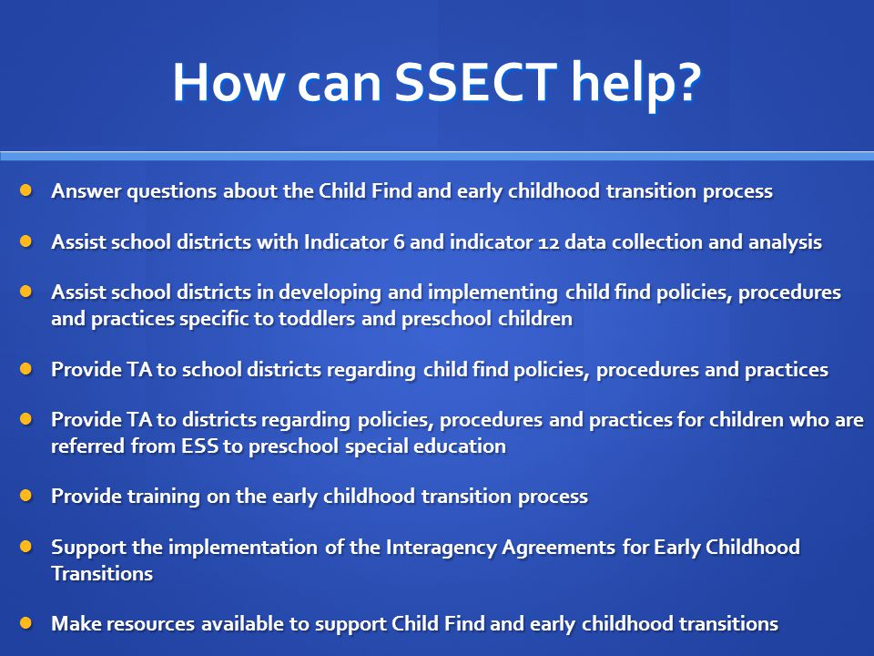 How can SSECT help.