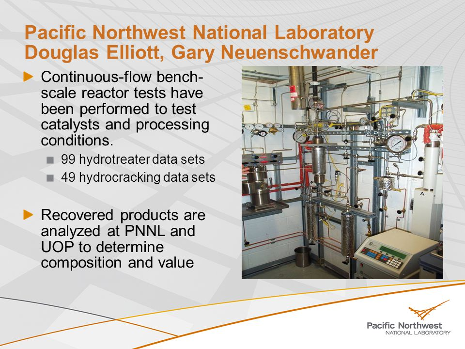 National Renewable Energy Laboratory Stefan Czernik, Kristiina Iisa Bio-oil neutralization and stabilization Catalytic Pyrolysis MBMS testing Mild-hydrotreating batch reactor Technoeconomic assessments Integration into petroleum refinery Hot-gas filtration (bio-oil stabilization DOE solicitation)