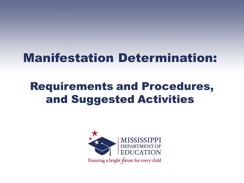 Manifestation Determination: Requirements and Procedures, and Suggested Activities