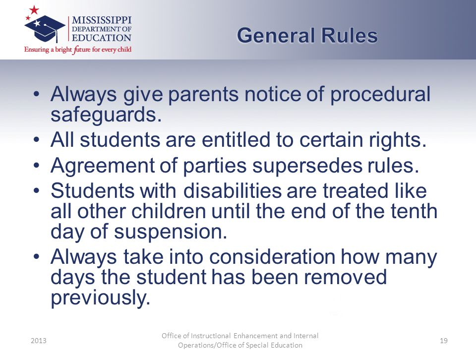 Always give parents notice of procedural safeguards. All students are entitled to certain rights. Agreement of parties supersedes rules. Students with