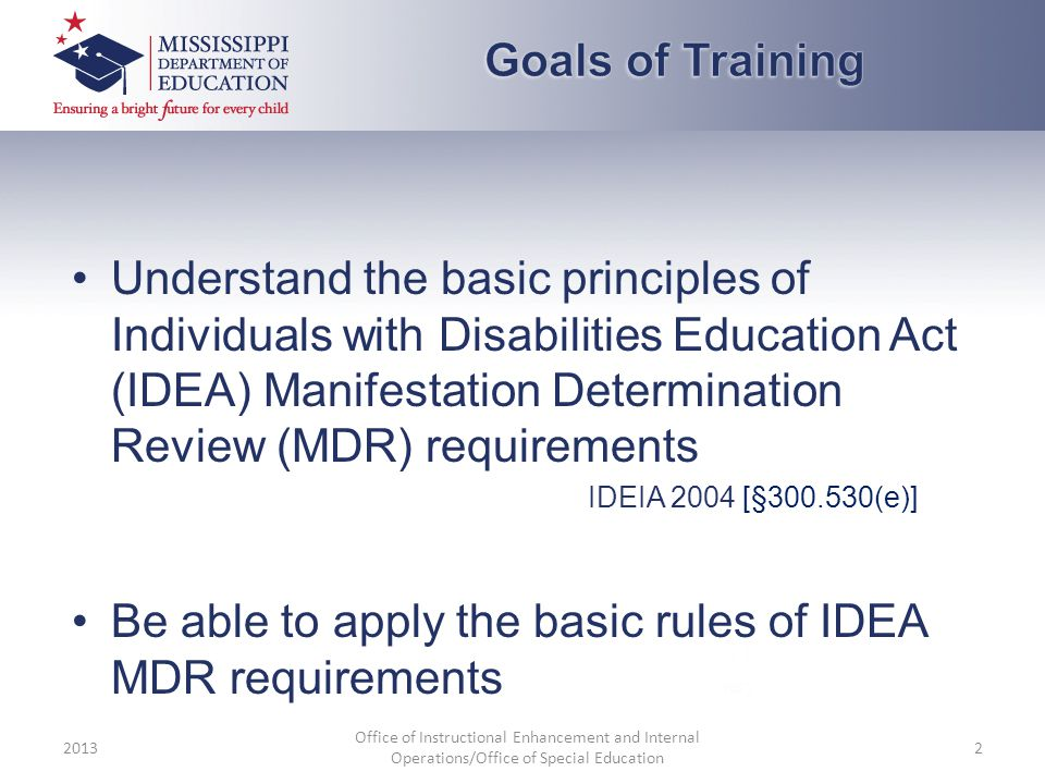 Understand the basic principles of Individuals with Disabilities Education Act (IDEA) Manifestation Determination Review (MDR) requirements IDEIA 2004