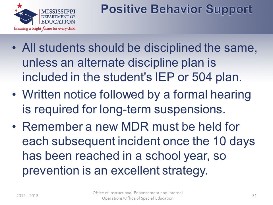 All students should be disciplined the same, unless an alternate discipline plan is included in the student's IEP or 504 plan. Written notice followed
