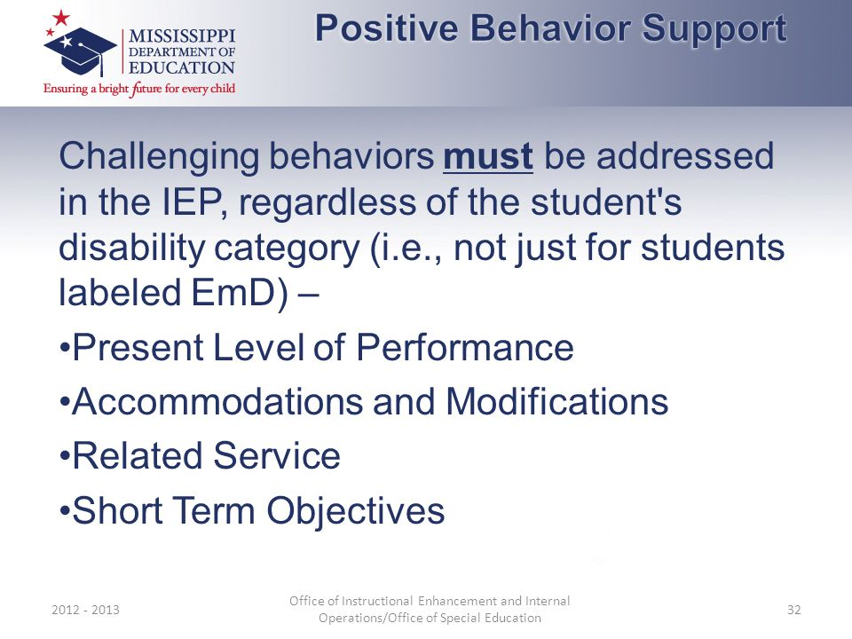 Challenging behaviors must be addressed in the IEP, regardless of the student's disability category (i.e., not just for students labeled EmD) – Presen