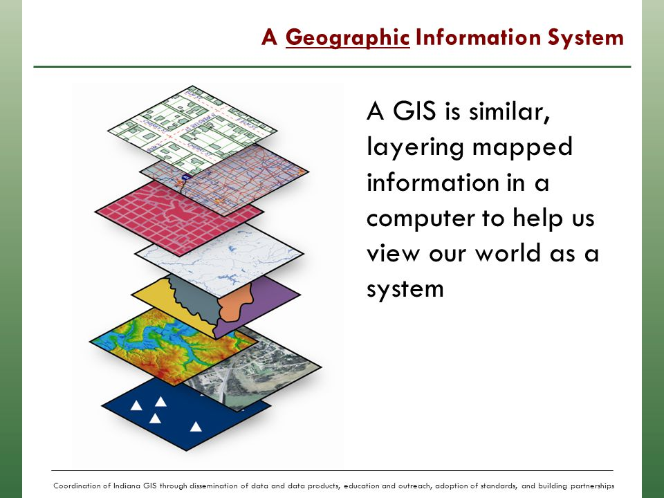 Coordination of Indiana GIS through dissemination of data and data products, education and outreach, adoption of standards, and building partnerships GIS Can Answer Questions Identify all land parcels between 5 and 10 acres within 1 mile of interstate access with developed utilities.