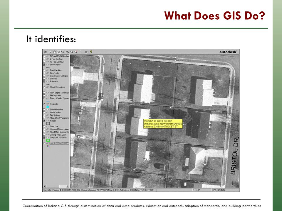 Coordination of Indiana GIS through dissemination of data and data products, education and outreach, adoption of standards, and building partnerships More than just maps… In a GIS, the maps have tables of data behind them.
